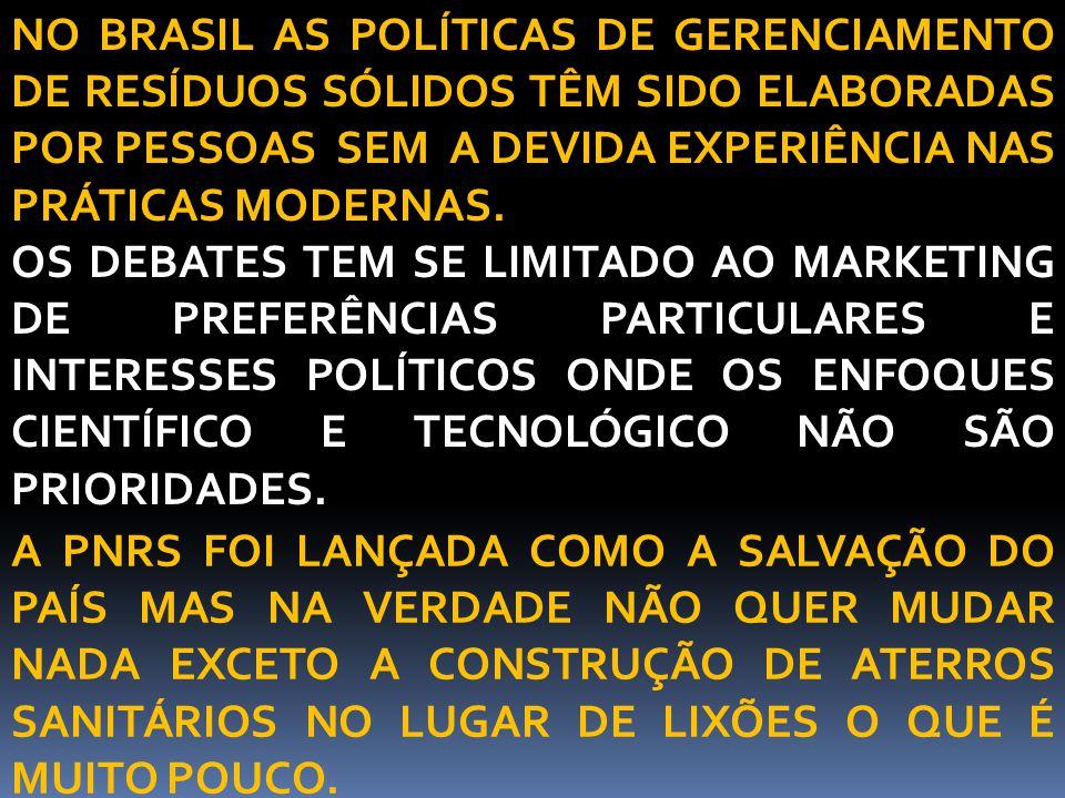 NO BRASIL AS POLÍTICAS DE GERENCIAMENTO DE RESÍDUOS SÓLIDOS TÊM SIDO ELABORADAS POR PESSOAS SEM A DEVIDA EXPERIÊNCIA NAS PRÁTICAS MODERNAS. OS DEBATES
