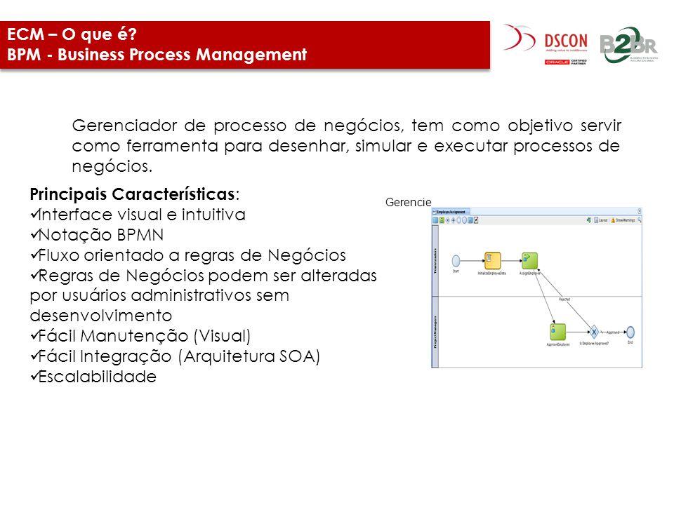 ECM – O que é? BPM - Business Process Management Gerenciador de processo de negócios, tem como objetivo servir como ferramenta para desenhar, simular