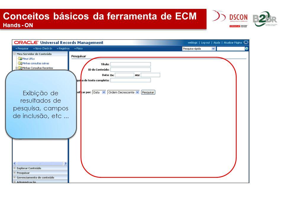 Conceitos básicos da ferramenta de ECM Hands - ON Exibição de resultados de pesquisa, campos de inclusão, etc...