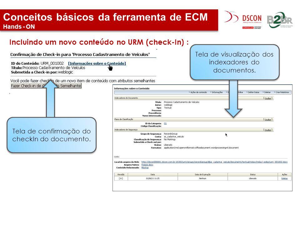 Conceitos básicos da ferramenta de ECM Hands - ON Incluindo um novo conteúdo no URM (check-In) : Tela de confirmação do checkIn do documento. Tela de
