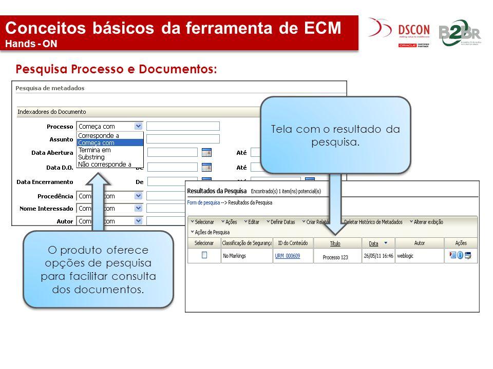 Conceitos básicos da ferramenta de ECM Hands - ON Pesquisa Processo e Documentos: Tela com o resultado da pesquisa. O produto oferece opções de pesqui