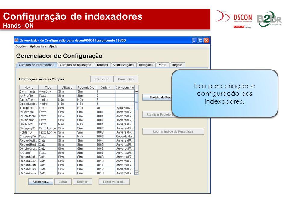 Configuração de indexadores Hands - ON Tela para criação e configuração dos indexadores.