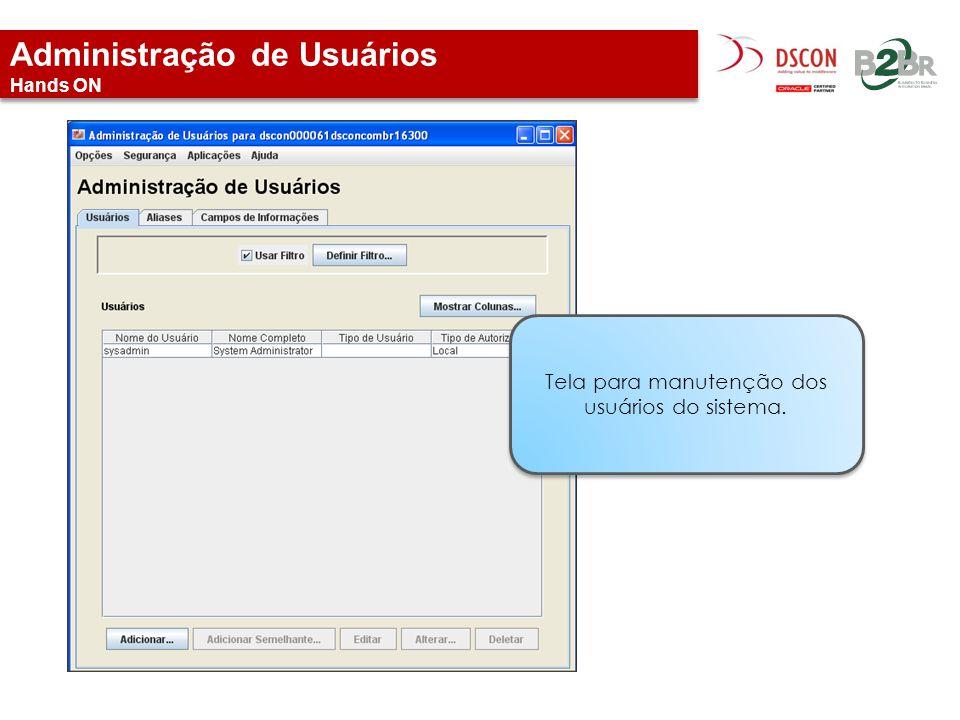 Administração de Usuários Hands ON Tela para manutenção dos usuários do sistema.