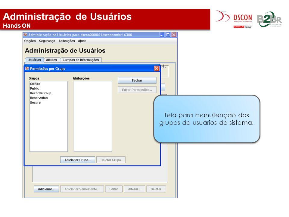 Administração de Usuários Hands ON Tela para manutenção dos grupos de usuários do sistema.