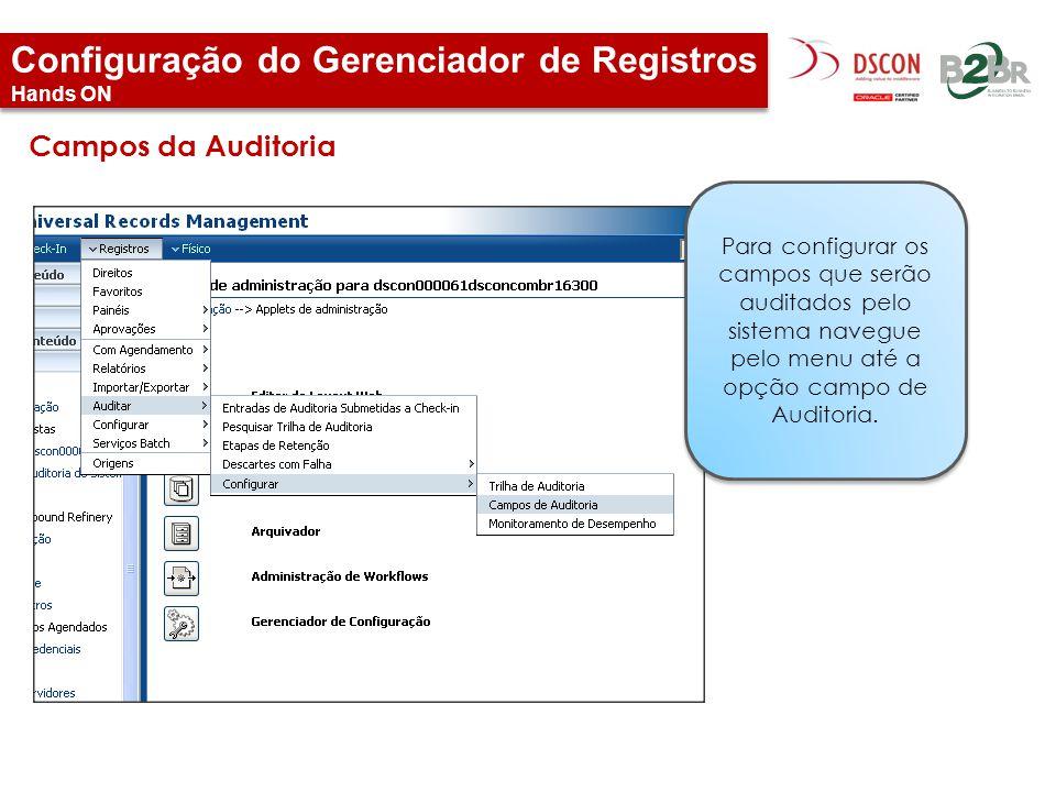 Configuração do Gerenciador de Registros Hands ON Para configurar os campos que serão auditados pelo sistema navegue pelo menu até a opção campo de Au