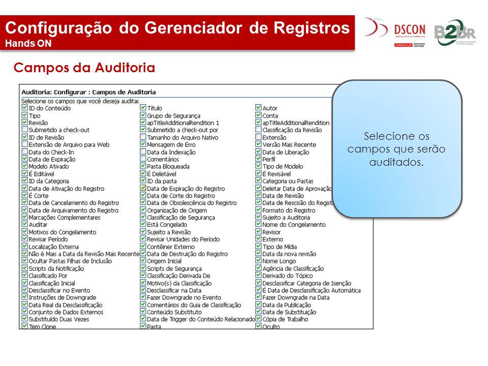 Configuração do Gerenciador de Registros Hands ON Selecione os campos que serão auditados. Campos da Auditoria