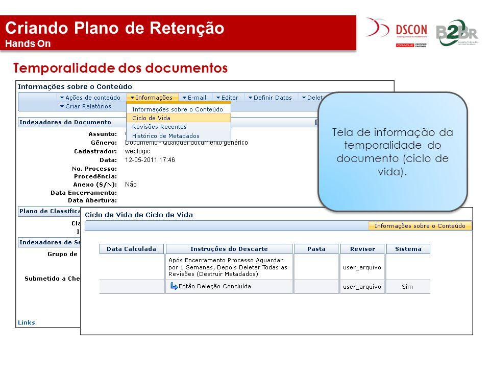 Criando Plano de Retenção Hands On Temporalidade dos documentos Tela de informação da temporalidade do documento (ciclo de vida).