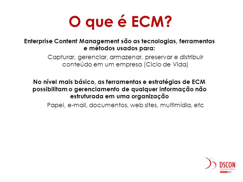 Enterprise Content Management são as tecnologias, ferramentas e métodos usados para: Capturar, gerenciar, armazenar, preservar e distribuir conteúdo e
