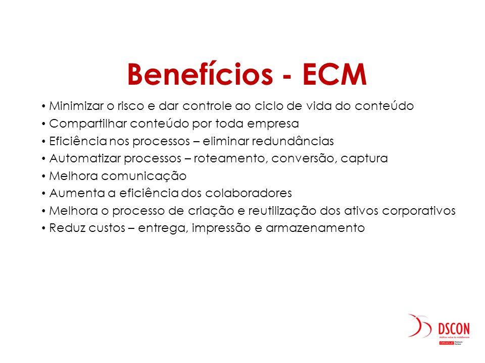 Benefícios - ECM Minimizar o risco e dar controle ao ciclo de vida do conteúdo Compartilhar conteúdo por toda empresa Eficiência nos processos – elimi