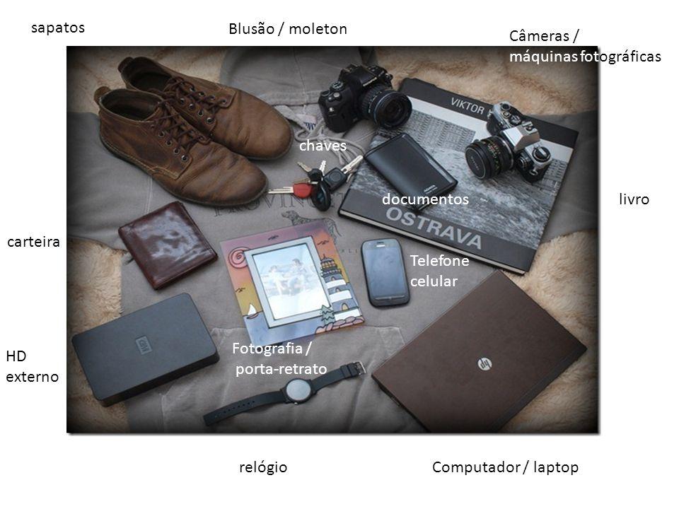 relógio chaves Computador / laptop HD externo Telefone celular documentoslivro Câmeras / máquinas fotográficas sapatos Blusão / moleton carteira Fotog