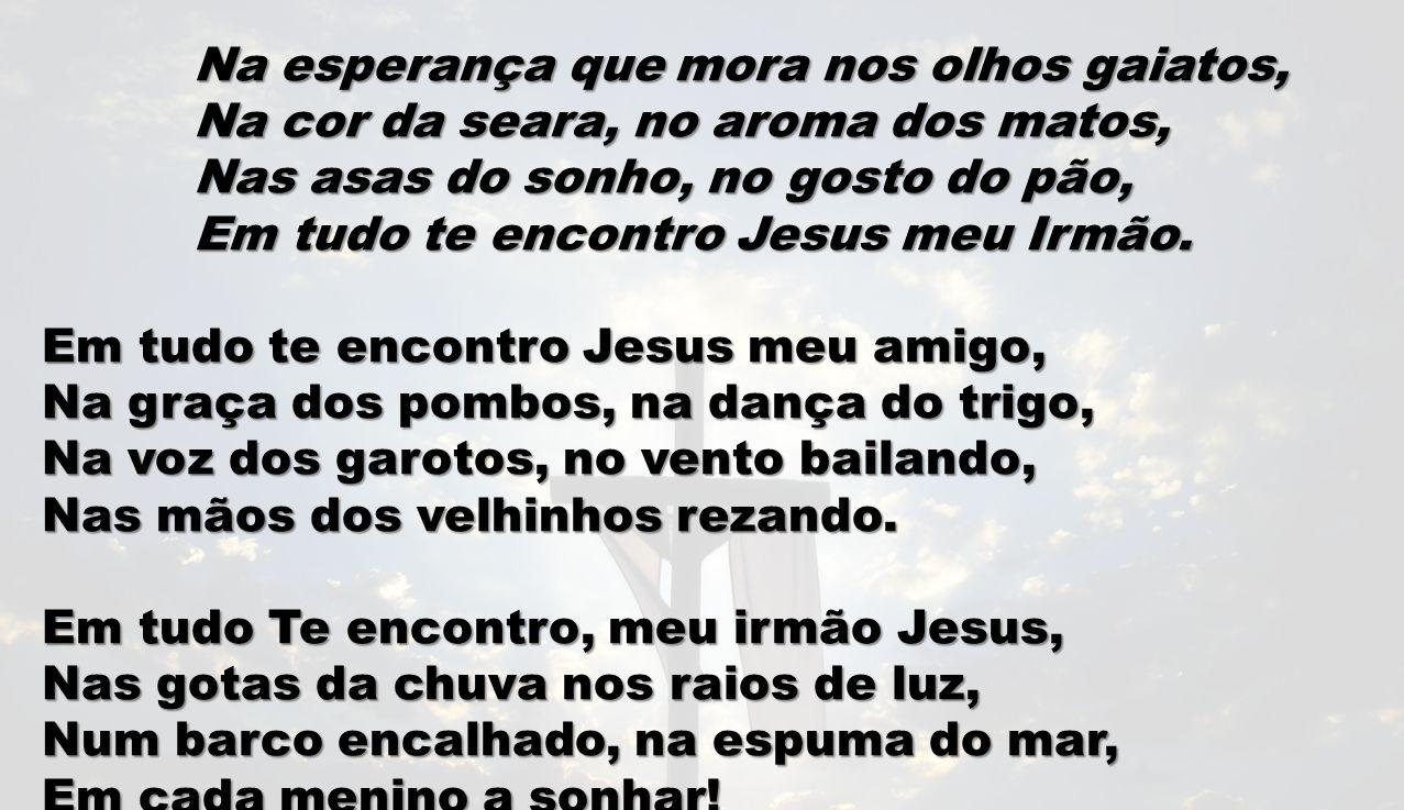 Na esperança que mora nos olhos gaiatos, Na cor da seara, no aroma dos matos, Nas asas do sonho, no gosto do pão, Em tudo te encontro Jesus meu Irmão.