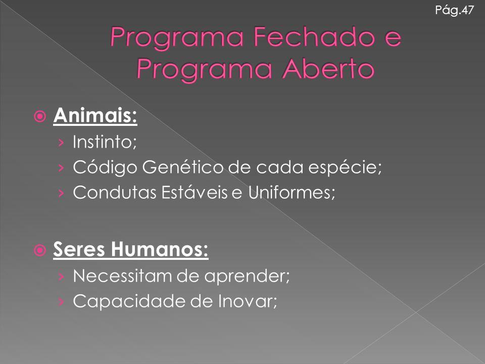  Animais: › Instinto; › Código Genético de cada espécie; › Condutas Estáveis e Uniformes;  Seres Humanos: › Necessitam de aprender; › Capacidade de