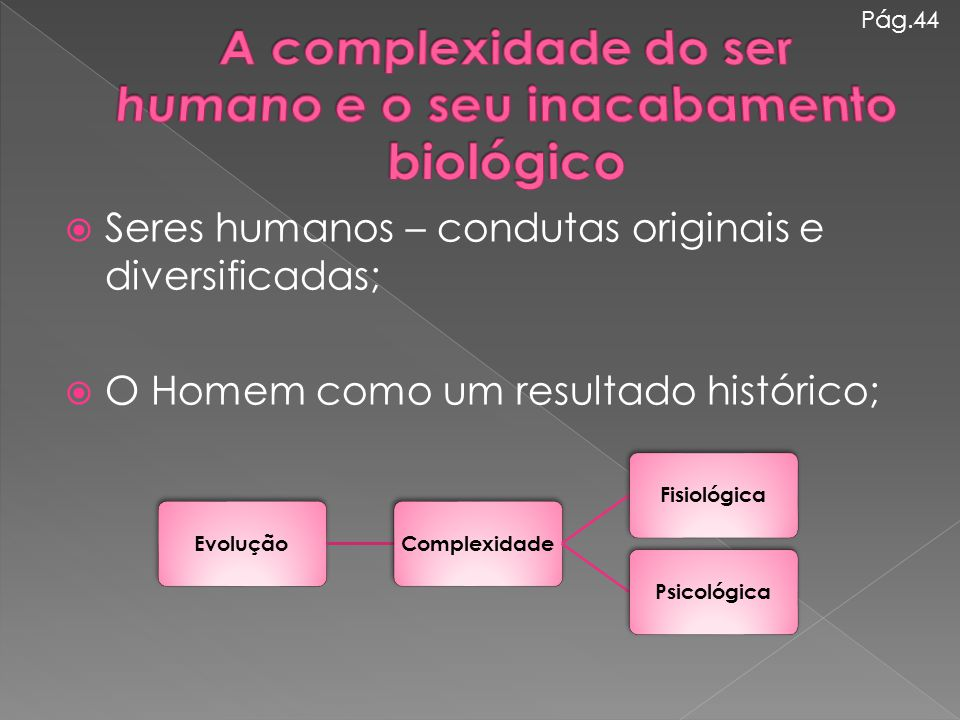  Seres humanos – condutas originais e diversificadas;  O Homem como um resultado histórico; Pág.44 EvoluçãoComplexidadeFisiológicaPsicológica