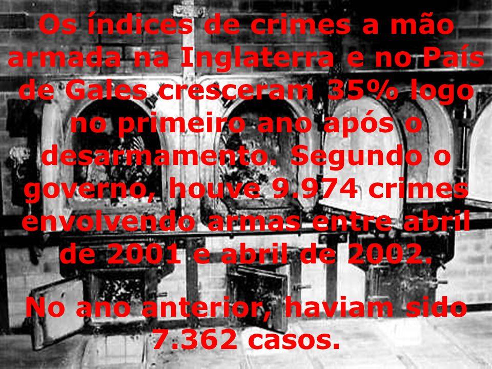 Os índices de crimes a mão armada na Inglaterra e no País de Gales cresceram 35% logo no primeiro ano após o desarmamento.