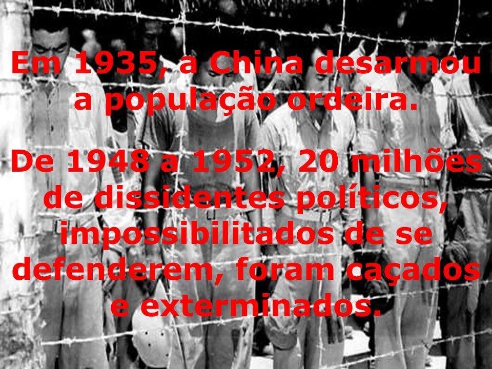 De 1948 a 1952, 20 milhões de dissidentes políticos, impossibilitados de se defenderem, foram caçados e exterminados.