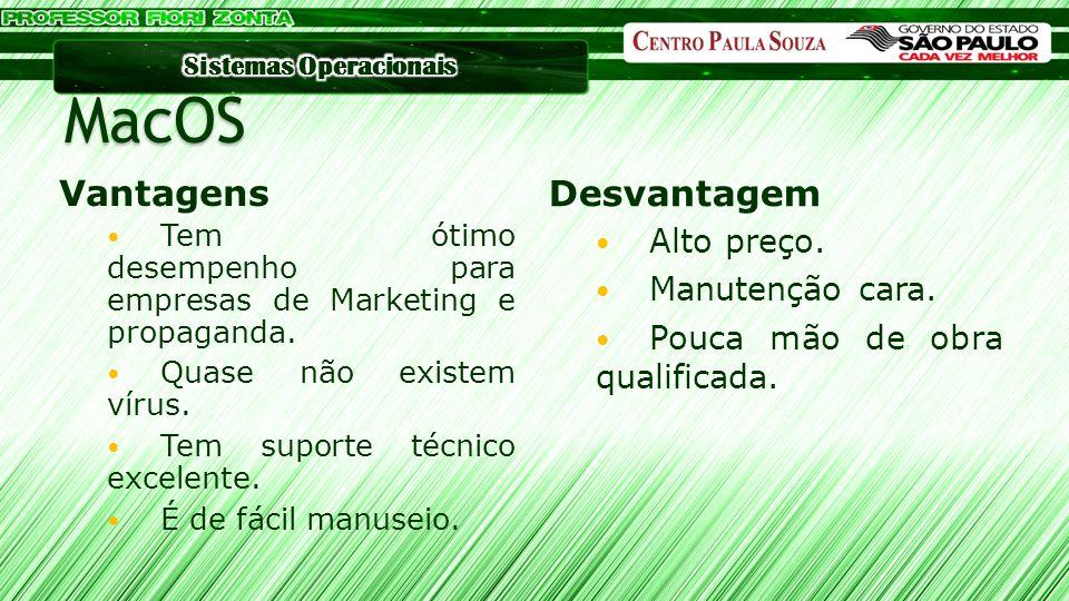 MacOS Vantagens Desvantagem Tem ótimo desempenho para empresas de Marketing e propaganda. Quase não existem vírus. Tem suporte técnico excelente. É de