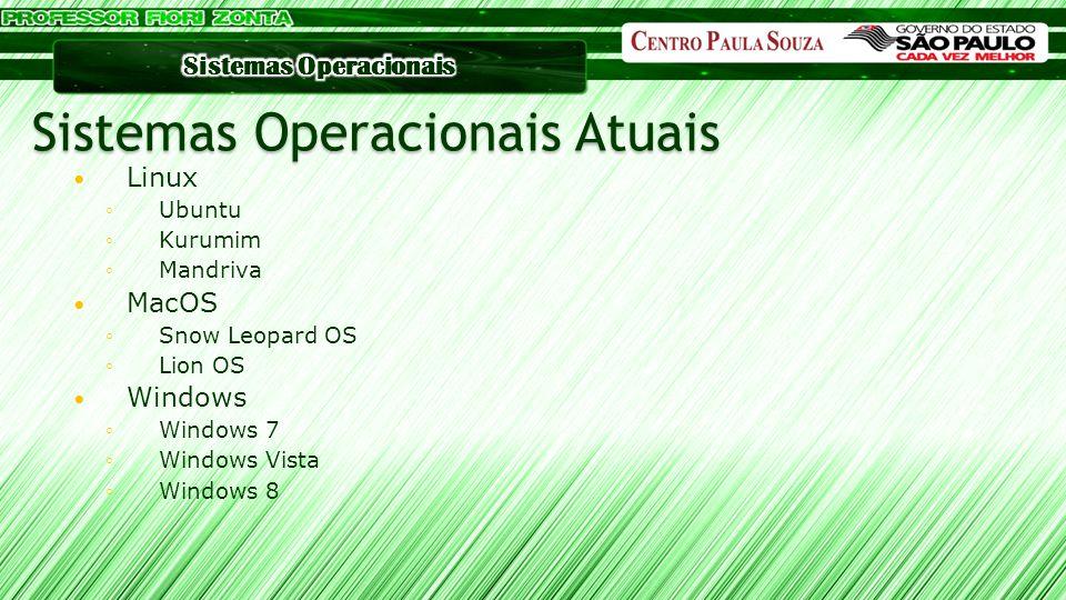 Linux ◦Ubuntu ◦Kurumim ◦Mandriva MacOS ◦Snow Leopard OS ◦Lion OS Windows ◦Windows 7 ◦Windows Vista ◦Windows 8 Sistemas Operacionais Atuais