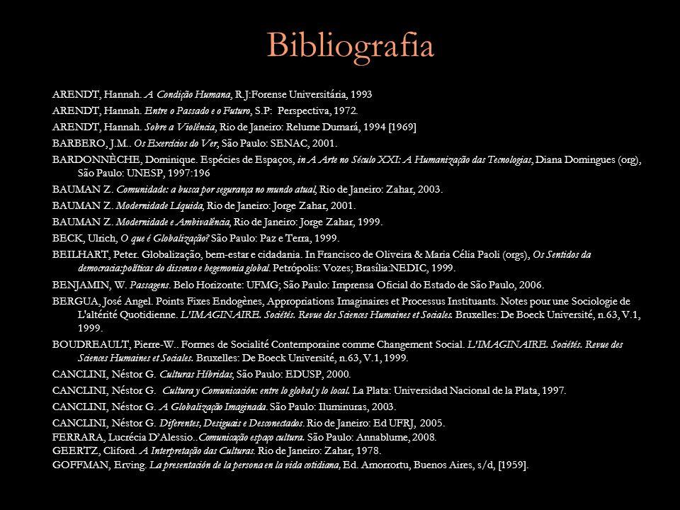 Bibliografia ARENDT, Hannah.A Condição Humana, R.J:Forense Universitária, 1993 ARENDT, Hannah.
