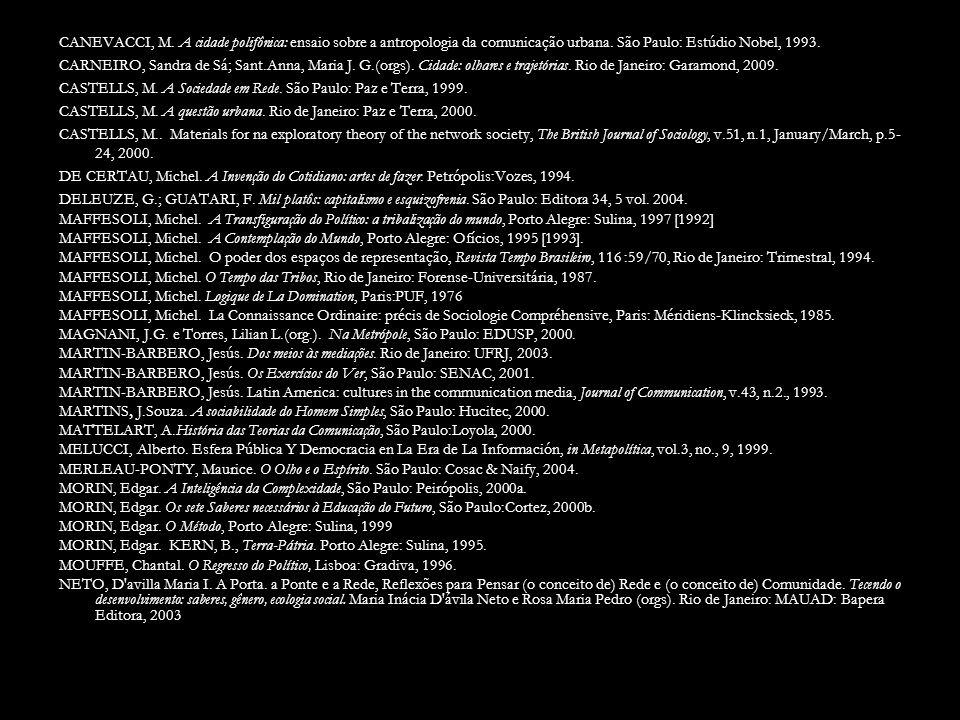 CANEVACCI, M.A cidade polifônica: ensaio sobre a antropologia da comunicação urbana.