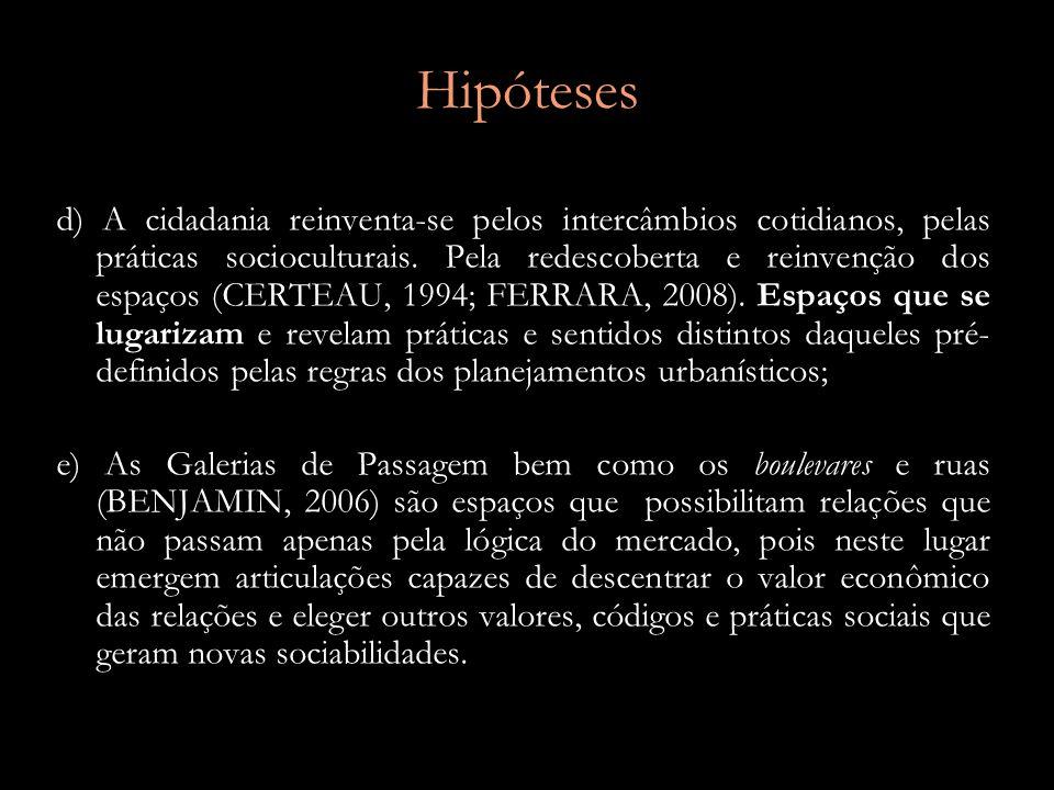 Hipóteses d) A cidadania reinventa-se pelos intercâmbios cotidianos, pelas práticas socioculturais.