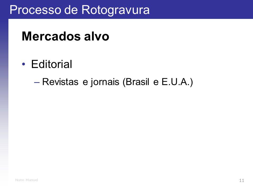 Processo de Rotogravura 11 Nuno Manuel Mercados alvo Editorial –Revistas e jornais (Brasil e E.U.A.)