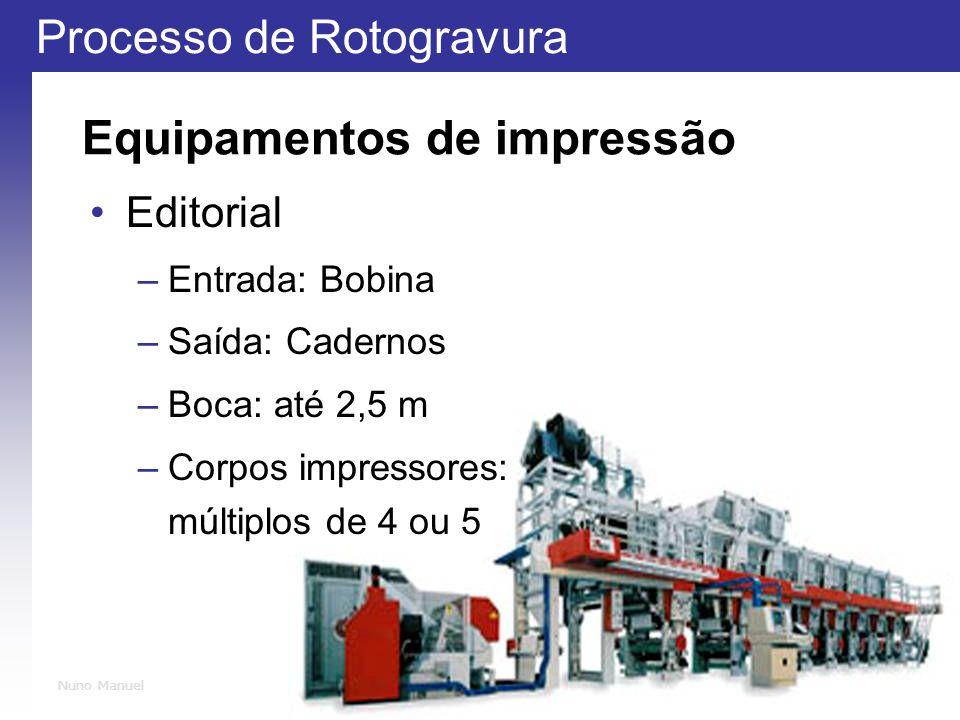 Processo de Rotogravura 17 Nuno Manuel Equipamentos de impressão Editorial –Entrada: Bobina –Saída: Cadernos –Boca: até 2,5 m –Corpos impressores: múltiplos de 4 ou 5
