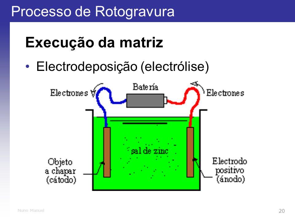 Processo de Rotogravura 20 Nuno Manuel Execução da matriz Electrodeposição (electrólise)