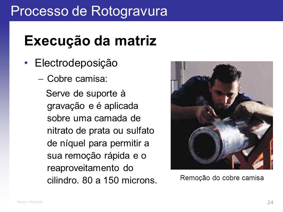 Processo de Rotogravura 24 Nuno Manuel Execução da matriz Electrodeposição –Cobre camisa: Serve de suporte à gravação e é aplicada sobre uma camada de nitrato de prata ou sulfato de níquel para permitir a sua remoção rápida e o reaproveitamento do cilindro.