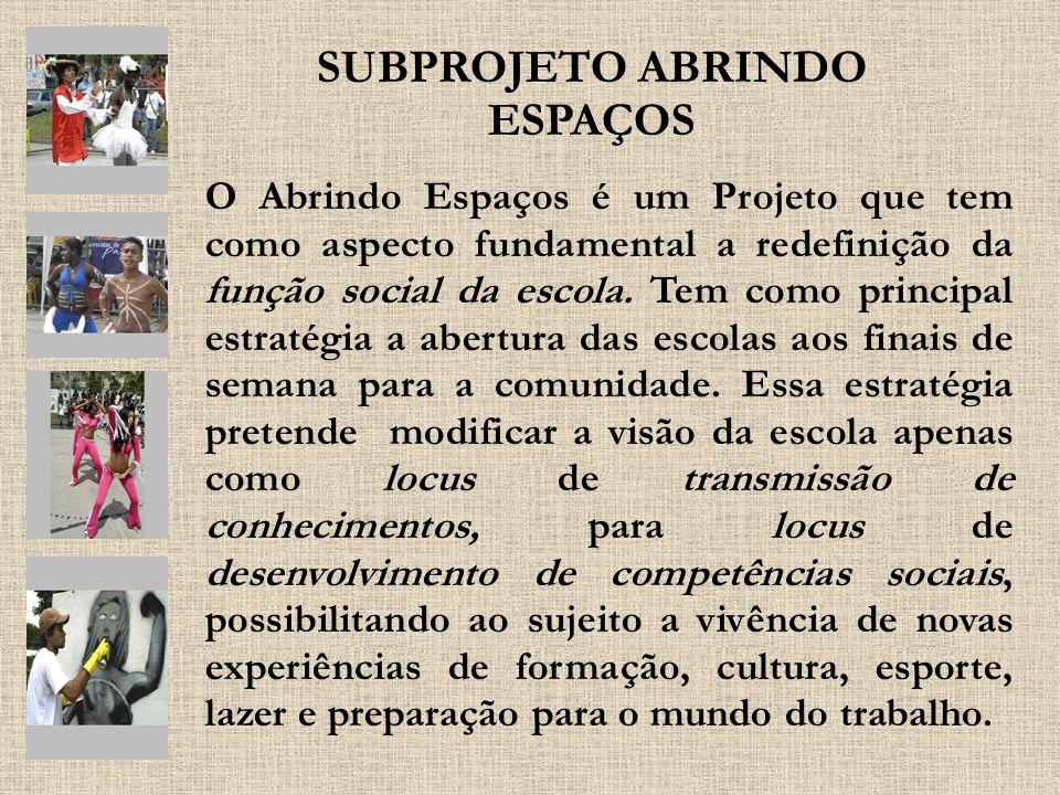 O Abrindo Espaços é um Projeto que tem como aspecto fundamental a redefinição da função social da escola. Tem como principal estratégia a abertura das