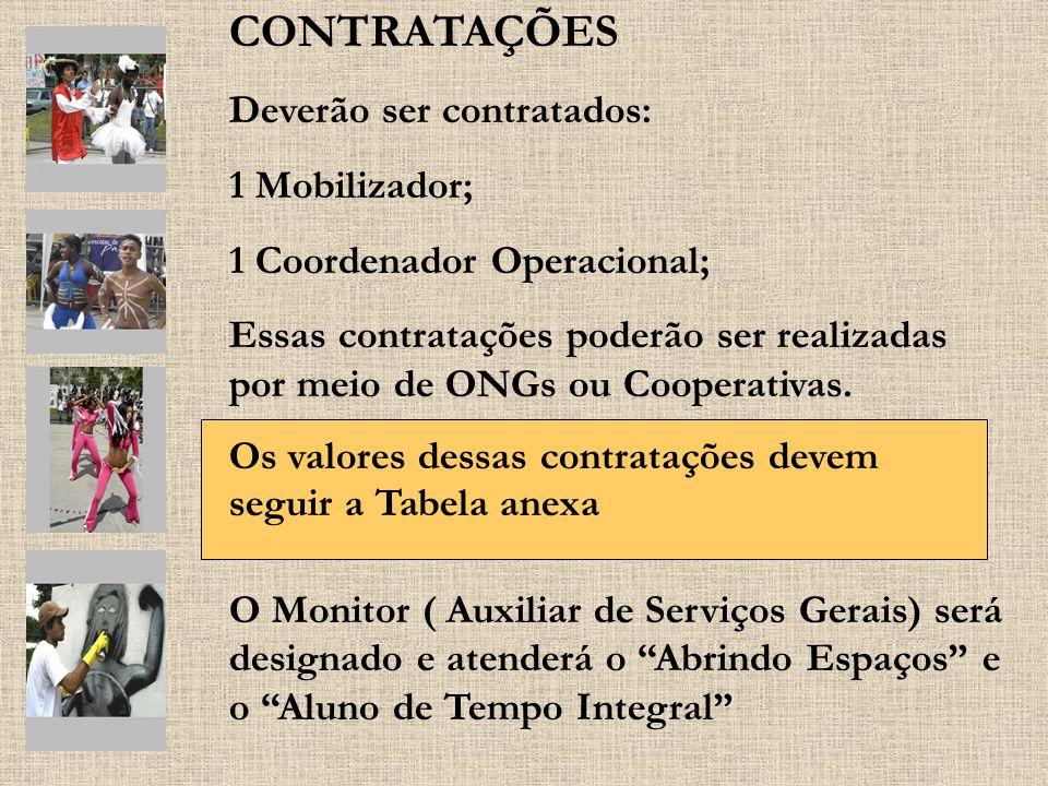 CONTRATAÇÕES Deverão ser contratados: 1 Mobilizador; 1 Coordenador Operacional; Essas contratações poderão ser realizadas por meio de ONGs ou Cooperat