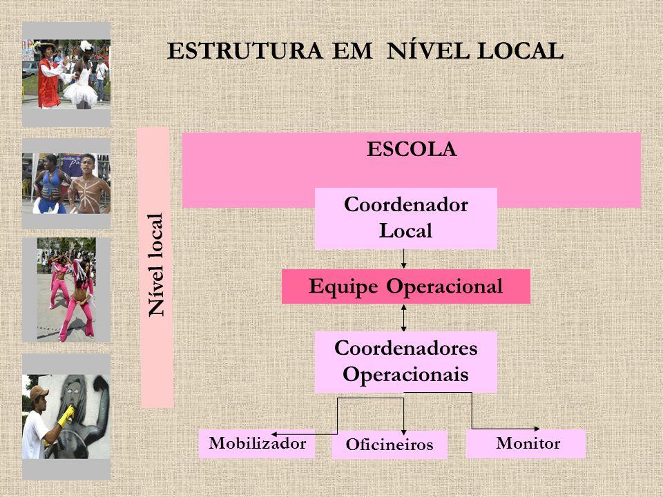ESTRUTURA EM NÍVEL LOCAL Nível local ESCOLA Mobilizador Coordenador Local Monitor Equipe Operacional Coordenadores Operacionais Oficineiros