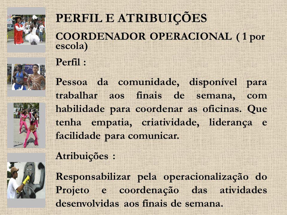 COORDENADOR OPERACIONAL ( 1 por escola) Perfil : Pessoa da comunidade, disponível para trabalhar aos finais de semana, com habilidade para coordenar a