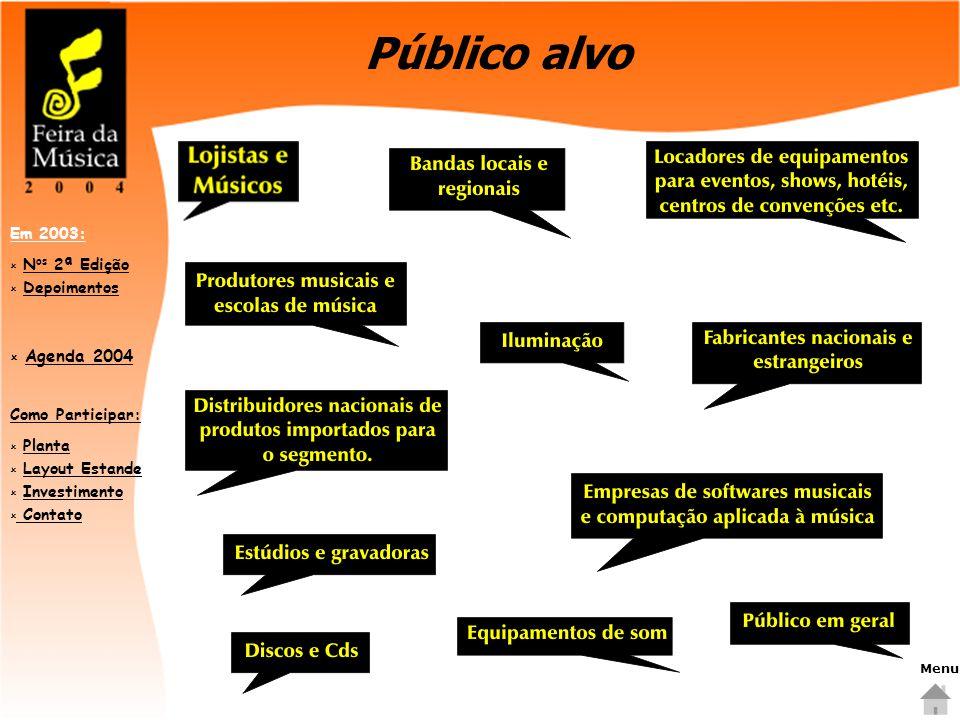 Como Participar:  PlantaPlanta  Layout EstandeLayout Estande  InvestimentoInvestimento  Contato Contato Em 2003:  N os 2ª EdiçãoN os 2ª Edição  DepoimentosDepoimentos  Agenda 2004 Agenda 2004 Público alvo Menu