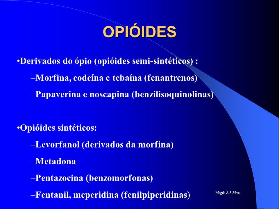 Magda A S Silva OPIÓIDES Derivados do ópio (opióides semi-sintéticos) : –Morfina, codeína e tebaína (fenantrenos) –Papaverina e noscapina (benzilisoqu