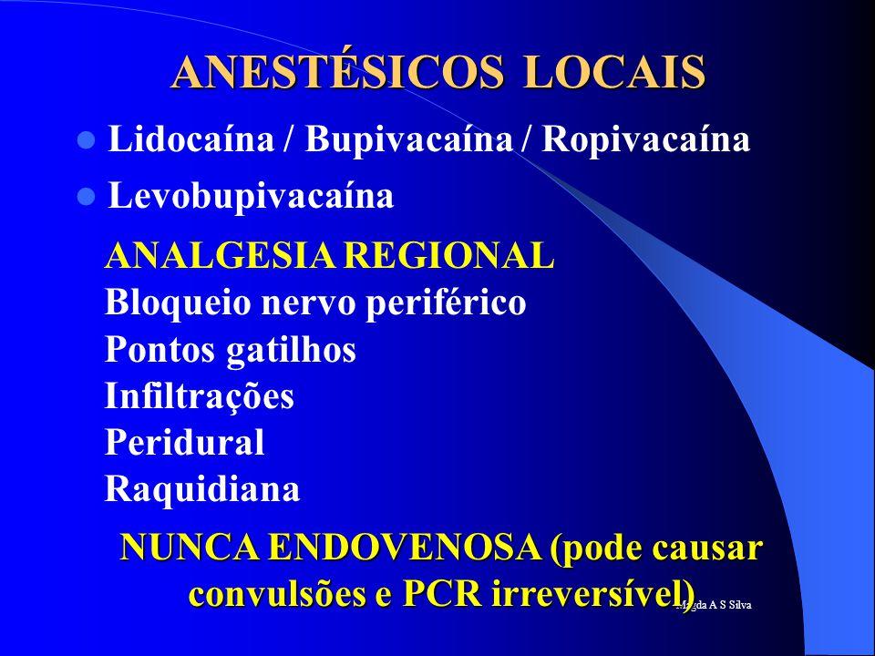 Magda A S Silva ANESTÉSICOS LOCAIS Lidocaína / Bupivacaína / Ropivacaína Levobupivacaína ANALGESIA REGIONAL Bloqueio nervo periférico Pontos gatilhos