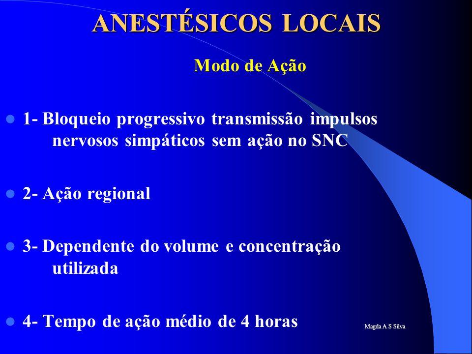 Magda A S Silva ANESTÉSICOS LOCAIS Modo de Ação 1- Bloqueio progressivo transmissão impulsos nervosos simpáticos sem ação no SNC 2- Ação regional 3- D