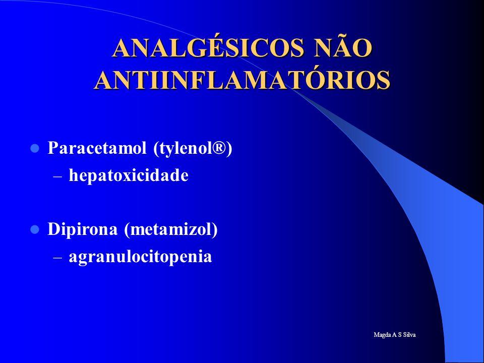 Magda A S Silva ANALGÉSICOS NÃO ANTIINFLAMATÓRIOS Paracetamol (tylenol®) – hepatoxicidade Dipirona (metamizol) – agranulocitopenia