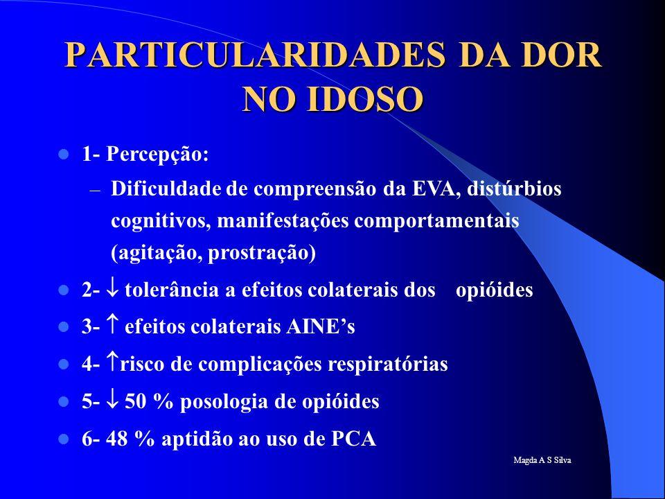 Magda A S Silva PARTICULARIDADES DA DOR NO IDOSO 1- Percepção: – Dificuldade de compreensão da EVA, distúrbios cognitivos, manifestações comportamenta