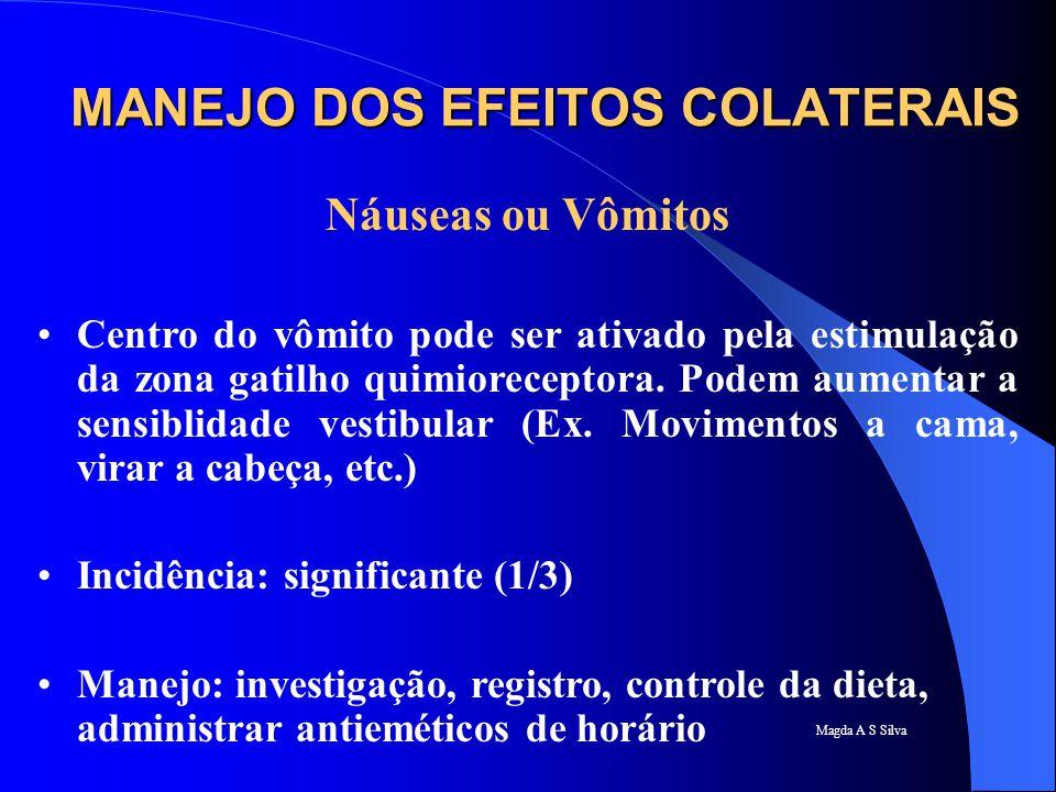 Magda A S Silva MANEJO DOS EFEITOS COLATERAIS Náuseas ou Vômitos Centro do vômito pode ser ativado pela estimulação da zona gatilho quimioreceptora. P
