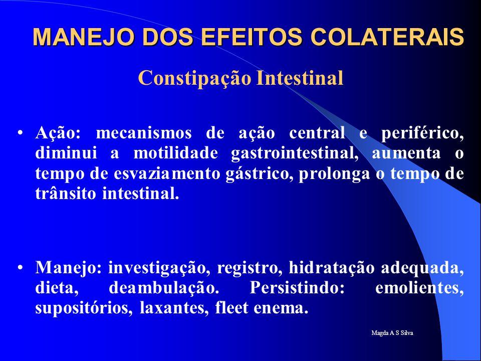 Magda A S Silva Constipação Intestinal Ação: mecanismos de ação central e periférico, diminui a motilidade gastrointestinal, aumenta o tempo de esvazi