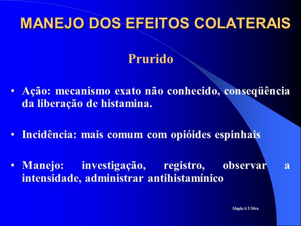 Magda A S Silva Prurido Ação: mecanismo exato não conhecido, conseqüência da liberação de histamina. Incidência: mais comum com opióides espinhais Man