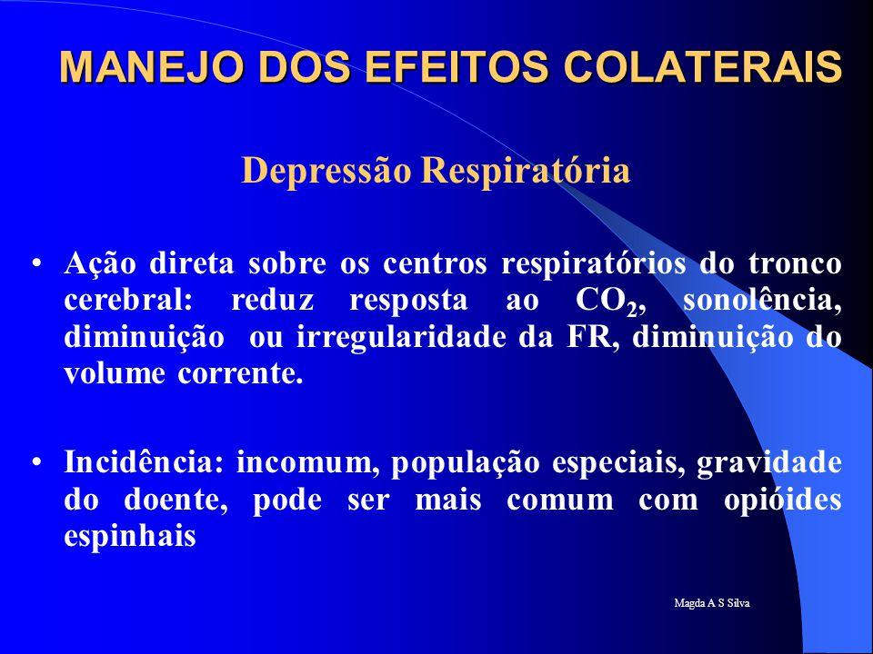 Magda A S Silva Depressão Respiratória Ação direta sobre os centros respiratórios do tronco cerebral: reduz resposta ao CO 2, sonolência, diminuição o