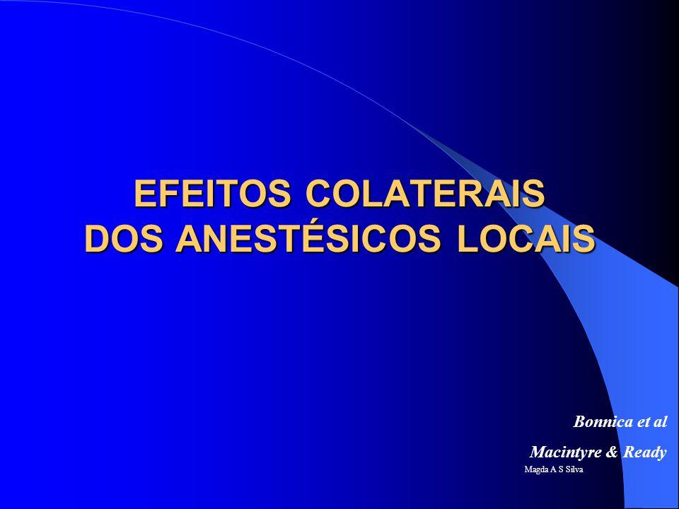 Magda A S Silva EFEITOS COLATERAIS ANESTÉSICOS LOCAIS Reações alérgicas Neurotoxicidade (sistêmica) Cardiotoxicidade(sistêmica) Hipotensão Bradicardia Bloqueio Motor e Bloqueio Sensitivo Retenção urinária