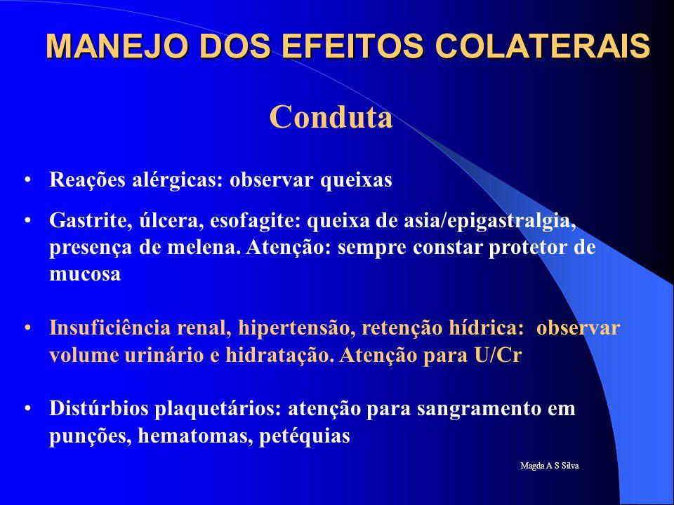 Magda A S Silva Conduta Reações alérgicas: observar queixas Gastrite, úlcera, esofagite: queixa de asia/epigastralgia, presença de melena. Atenção: se