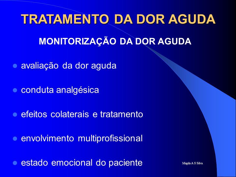 Magda A S Silva TRATAMENTO DA DOR AGUDA MONITORIZAÇÃO DA DOR AGUDA avaliação da dor aguda conduta analgésica efeitos colaterais e tratamento envolvime