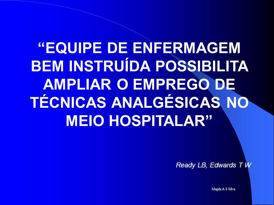 """Magda A S Silva """"EQUIPE DE ENFERMAGEM BEM INSTRUÍDA POSSIBILITA AMPLIAR O EMPREGO DE TÉCNICAS ANALGÉSICAS NO MEIO HOSPITALAR"""" Ready LB, Edwards T W"""