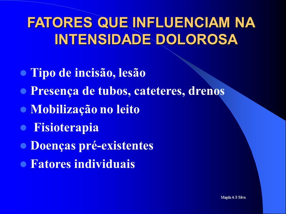 Magda A S Silva FATORES QUE INFLUENCIAM NA INTENSIDADE DOLOROSA Tipo de incisão, lesão Presença de tubos, cateteres, drenos Mobilização no leito Fisio