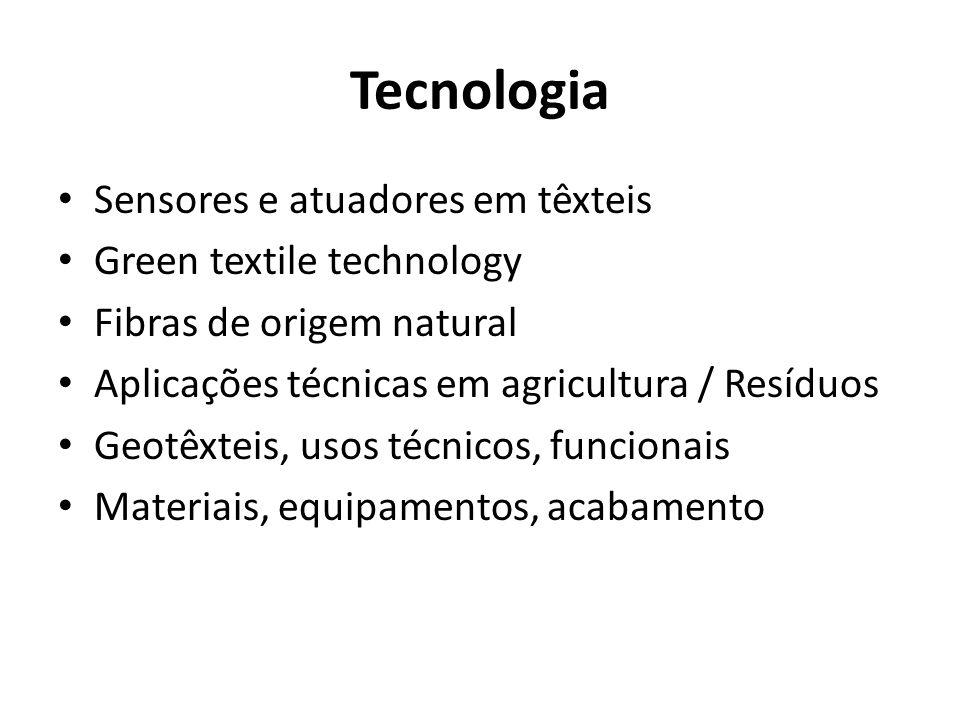 Tecnologia Sensores e atuadores em têxteis Green textile technology Fibras de origem natural Aplicações técnicas em agricultura / Resíduos Geotêxteis, usos técnicos, funcionais Materiais, equipamentos, acabamento