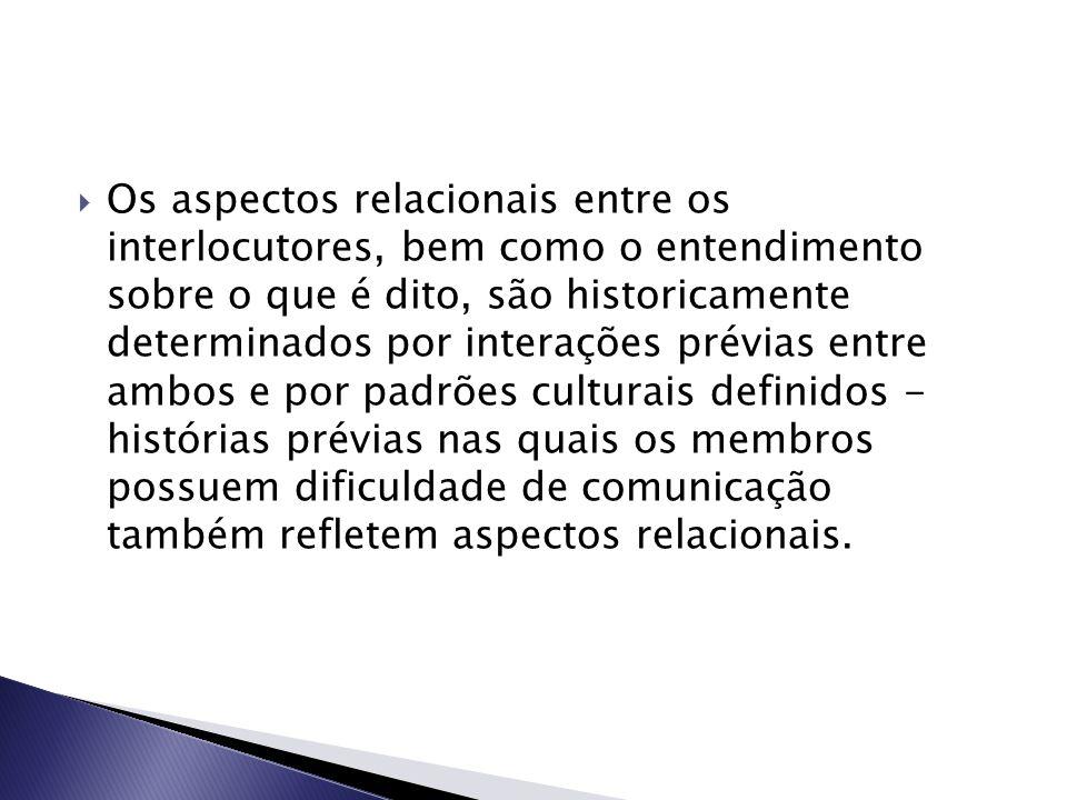  Os aspectos relacionais entre os interlocutores, bem como o entendimento sobre o que é dito, são historicamente determinados por interações prévias