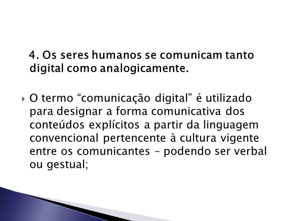 """4. Os seres humanos se comunicam tanto digital como analogicamente.  O termo """"comunicação digital"""" é utilizado para designar a forma comunicativa dos"""
